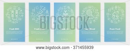Vertical Vector Bbq And Picnic Summer Five Banners - Fresh Bbq, Mood And Air