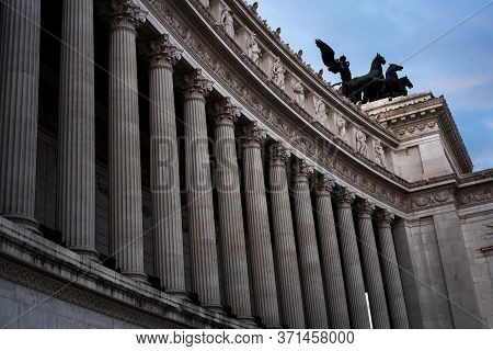 Monumental Columns Of The Facade Of The Vittorio Emanuele Ii Palace In Rome, Italy