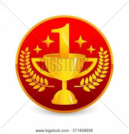 1st Place Medal - Golden Cup, Laurel, 1 Digit And Brilliance Stars In Red Circular Award - Isolated