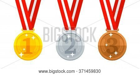 Winner Medal For 1st Place (gold), 2nd Place (silver) And 3rd Place (bronze) - Victory Symbols Set
