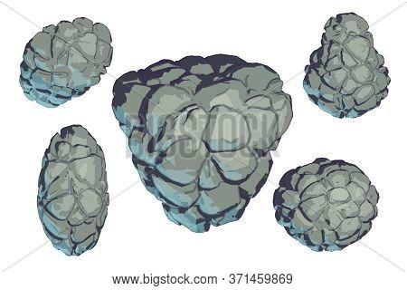 Cartoon Stones Set For Game Asset. Space Mountains Grey Elements. Rocks Vector Illustration. Granite