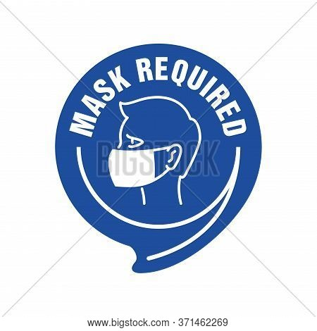 Mask Required Warning Prevention Sign - Human Profile Silhouette With Face Mask In Rounded Rectangul