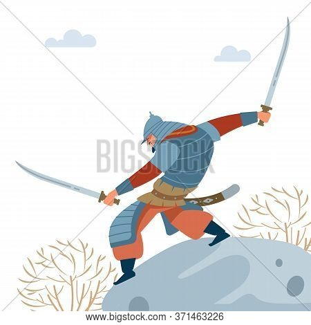 Central Asian Warrior. Nomad Warrior With Two Swords On Stone, Attacks In Battle. Medieval Battle Il