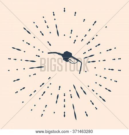 Black Gasoline Pump Nozzle Icon Isolated On Beige Background. Fuel Pump Petrol Station. Refuel Servi