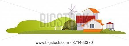 Farm, Agriculture Rural Landscape, Village House. Vector Horizontal Illustration, Flat Style
