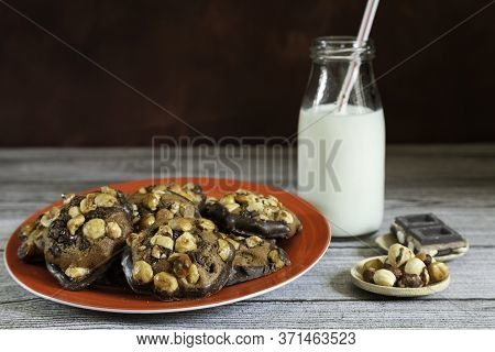 Hazelnut And Chocolate Chip Cookies, Hazelnuts And Pieces Of Chocolate