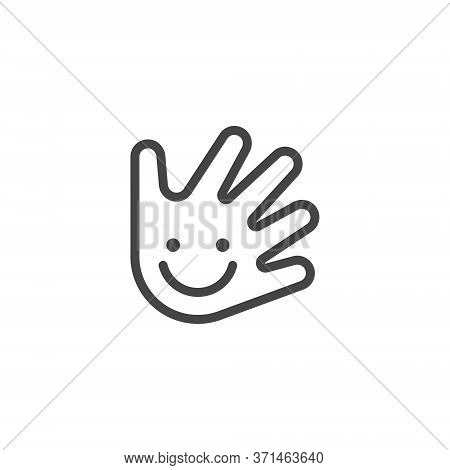 Thin Outline Icon Hand And Smile. Such Line Sign As Fine Motor Skills, Preschool Learning, Or Logo D