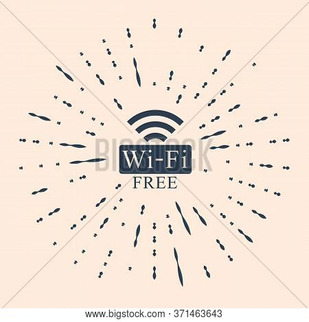 Black Free Wi-fi Icon Isolated On Beige Background. Wi-fi Symbol. Wireless Network Icon. Wi-fi Zone.