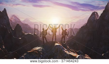 Silhouette Happy People Or Successful People With The Cooperation Of Working Groups At Sunset. 3d Re