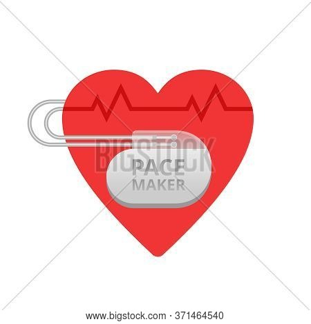 Pacemaker Conceptual Icon - Heart Shape With Implant Device And Heart Rate Cardiogram Inside - Cardi