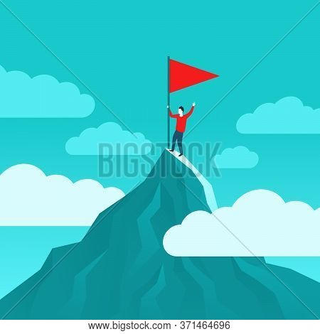 Business Working Career Success Or Challenge Winner Achievement - Man With Flag On High Mountain Top
