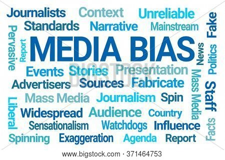 Media Bias Word Cloud on White Background