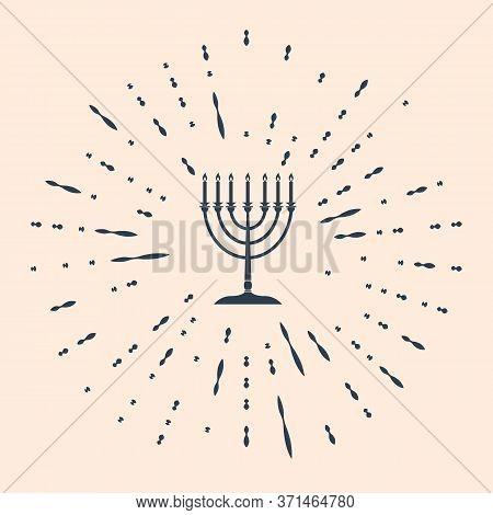 Black Hanukkah Menorah Icon Isolated On Beige Background. Religion Icon. Hanukkah Traditional Symbol