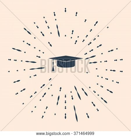 Black Graduation Cap Icon Isolated On Beige Background. Graduation Hat With Tassel Icon. Abstract Ci
