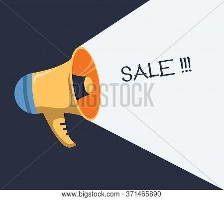 Megaphone Wit Text Sale. Loudspeaker. Banner For Business, Sales, Marketing And Advertising. Loudspe