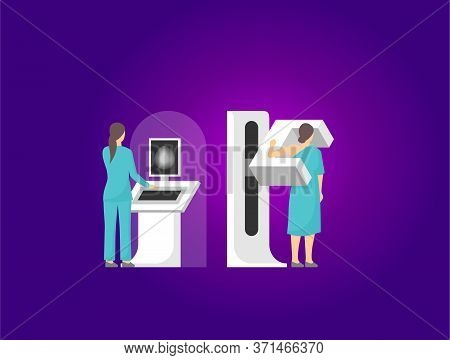 Mammography - Vector Illustration Of  Breast Diagnosis And Screening - Cancer Mammogram