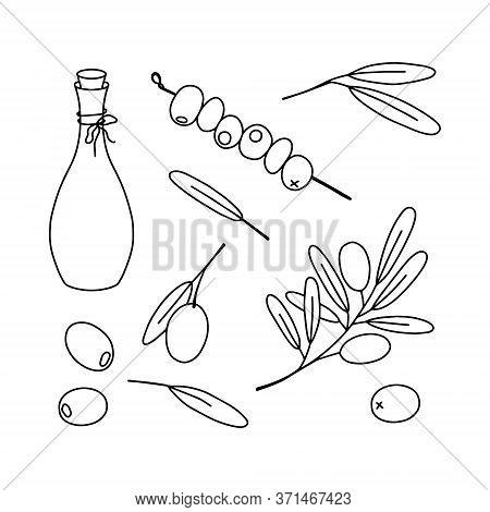 Olive Set, Hand Draw Vector Line Illustration. The Set Consists Of Scarf, Leaves, Olives, A Bottle O