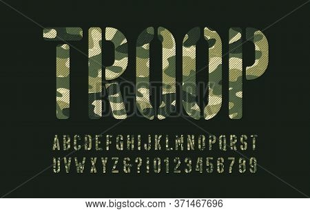 Troop Alphabet Font. Stencil Camo Letters And Numbers On A Dark Green Background. Vector Typescript