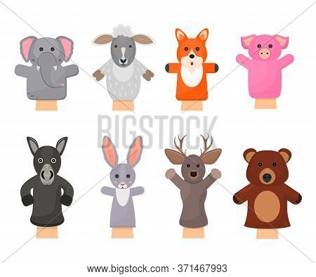 Cartoon Color Hand Puppets Play Doll Icons Set Include Of Bear, Rabbit, Pig And Fox. Vector Illustra