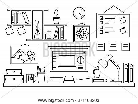 Office Table Workspace With Computer And Lamp Concept Contour Linear Style. Vector Illustration Of L