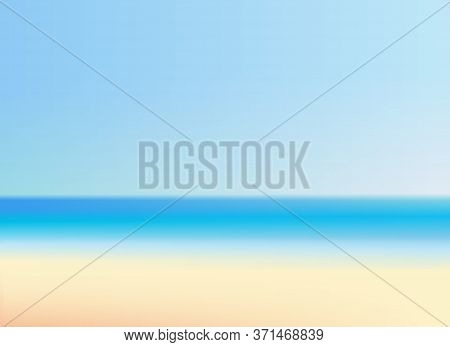 Beautiful Beach With Clear Sky Vector Illustration. Summer Vacation Blurred Background