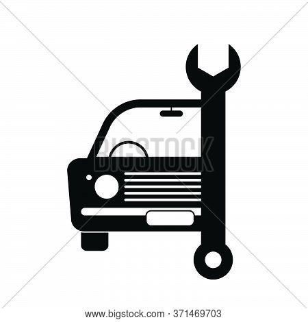 Old Vintage Junk Car Vehicle Automobile Repair Servicing Maintenance Repair Wrench Tool. Black Illus