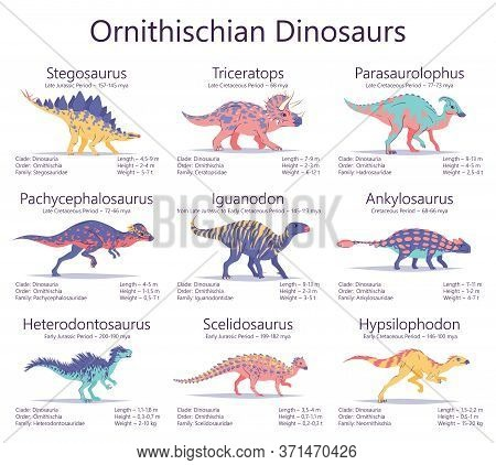 Ornithischian Dinosaurs. Set Of Ancient Creatures With Information Of Size, Weigh, Classification An