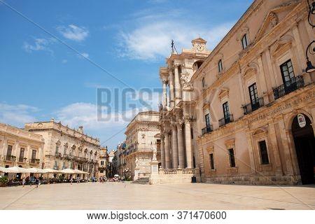 Syracuse (Siracusa) city center, Sicily, Italy. Day view of the Cathedral of Syracuse (Duomo di Siracusa or the Cattedrale metropolitana della Nativita di Maria Santissima), Ortigia