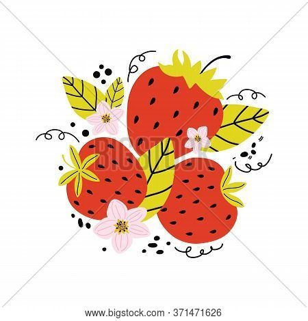 Hand Drawn Cartoon Bright Natural Red Strawberry Isolated On A White Background. Summer Fresh Sweet