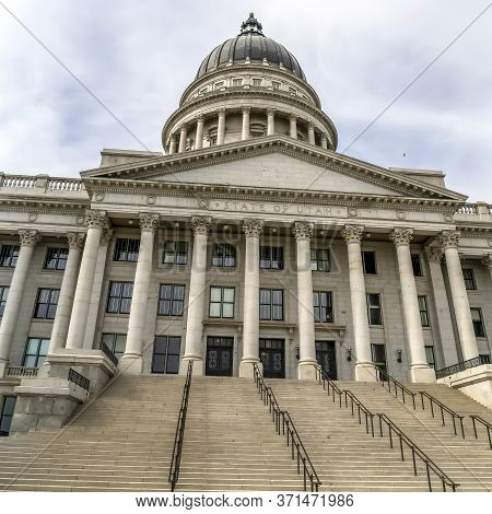 Square Utah State Capital Building Dome And Stairs Leading To The Pedimented Entrance