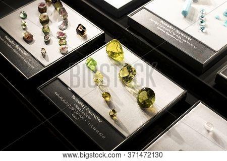 Vienna, Austria - 3 September 2018 : Exposition Of Precious And Semiprecious Stones Processed And No