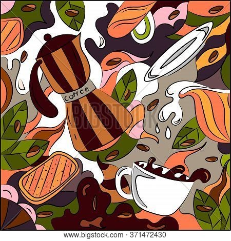 Bright Abstract Illustration On The Theme Of Coffee With Milk. Colorful Surreal Print Background.