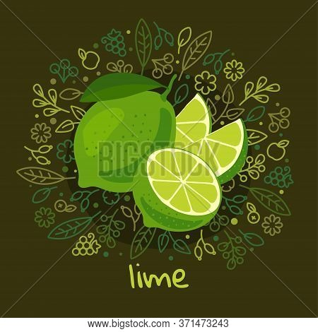 Vector Illustration Of Ripe Lime Fruit On Pattern And Abstract Background With Leaves, Fruits And Be