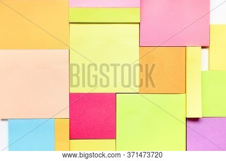 Group Of Empty Coloured Post-its As Background. Brainstorming Concept, Background And Design