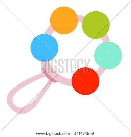 Rattle, Toy, Flat, Isolated Object On A White Background, Vector Illustration Eps
