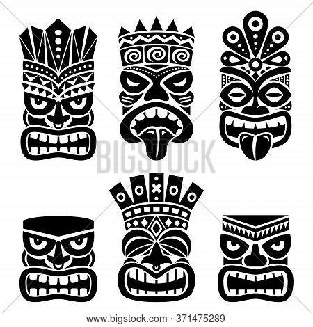 Hawaiian And Polynesia Tiki Head Totem Vector Design Set- Tribal Folk Art Background