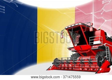 Digital Industrial 3d Illustration Of Red Advanced Rye Combine Harvester On Chad Flag - Agriculture