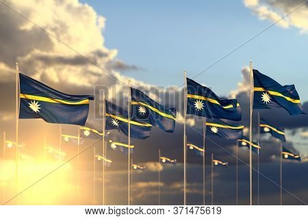 Nice Many Nauru Flags On Sunset Placed In Row With Selective Focus And Place For Content - Any Celeb