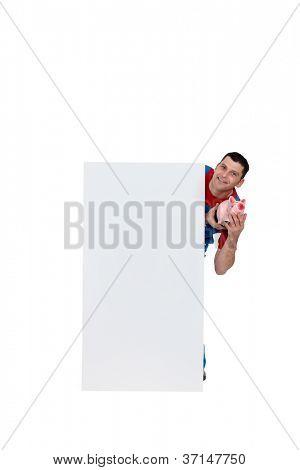Artisan holding moneybox