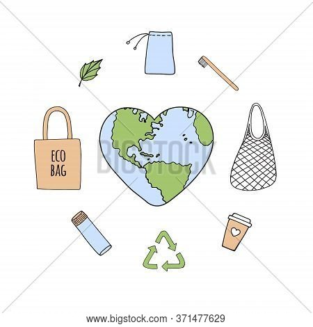 Vector Set Bundle Of Colored Hand Drawn Doodle Sketch Eco Friendly Zero Waste Accessories Things And