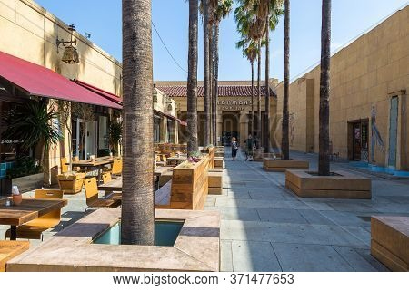 Los Angeles, Hollywood, Usa- 10 June 2015: Courtyard Of Egyptian Theater Hollywood At Hollywood Boul
