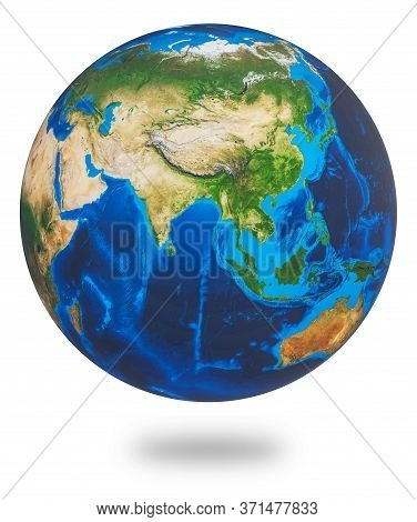 Asia, One Of The Earths Continent. Earth Isolated On White Background. Earth Planet Globe. 3d Render