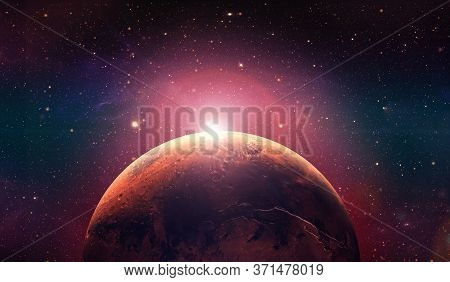 Mars The Red Planet. Sunset On Mars.  Red Planet In The Space Full Of Stars. 3d Rendering.