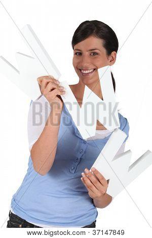 Woman holding WWW letters