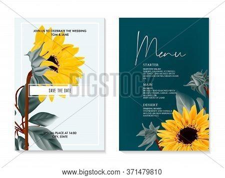 Sunflower Watercolor Vector Wedding Card. Summer Nature Yelow Flower Macro Bloom. Helianthus Greetin