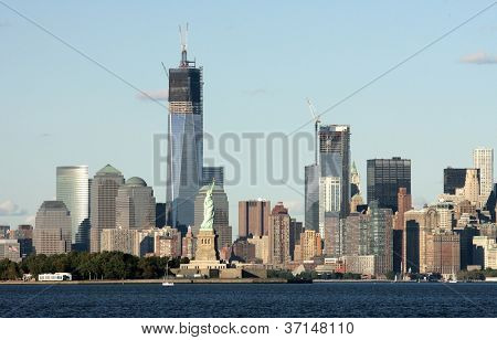 BAYONNE, NJ - SEPT 23: A view of the Freedom Tower, the Statue of Liberty and lower Manhattan are shown on September 23, 2012 in this view from Bayonne, NJ.