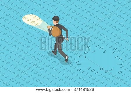 3d Flat Isometric Vector Concept Of Data Breach, Confidential Data Stealing.