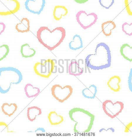 Rainbow Seamless Hearts Pattern, Vector Illustration. Geometric Colorful Pattern. Kids Pastel Rainbo