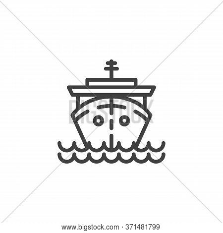 Cruise Ship Line Icon. Linear Style Sign For Mobile Concept And Web Design. Ship On Waves Outline Ve