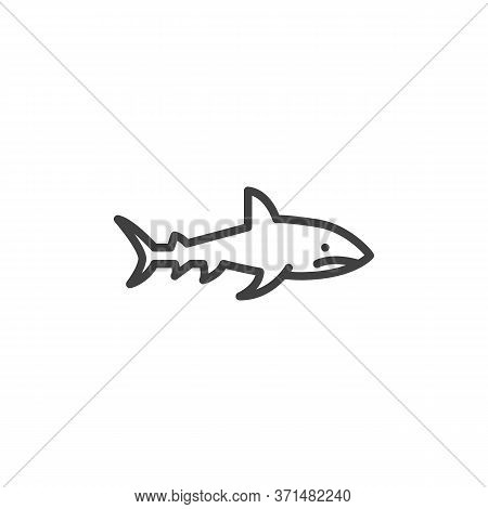 Shark Fish Line Icon. Linear Style Sign For Mobile Concept And Web Design. Marine Predator Shark Out